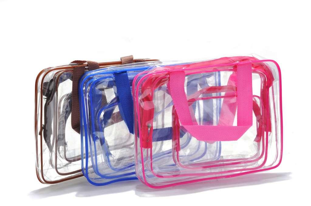 กระเป๋าซิลิโคนกันน้ำ กระเป๋าPVC ใส 3ชิ้น Travel Bag