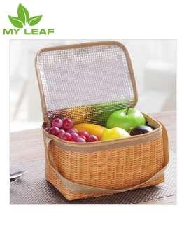 กระเป๋าฉนวนพกพาลายหญ้าสาน / ถุงฉนวนกันความร้อนแบบพกพา / ถุงอาหารกลางวันหุ้มฉนวนแบบพกพา / กระเป๋าอาหารกลางวันหุ้มฉนวน /ถุงอาหารกลางวัน/ Portable Lunch bag