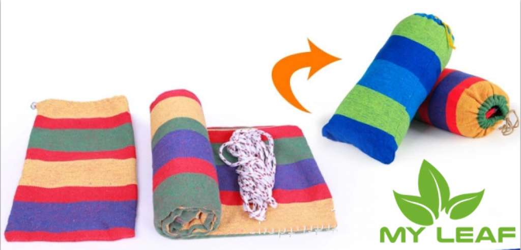 Hammock เปลญวนผ้าฝ้ายทอสลับสี เปลไกว เปลนอน พกพาสะดวก- นานาชาติ