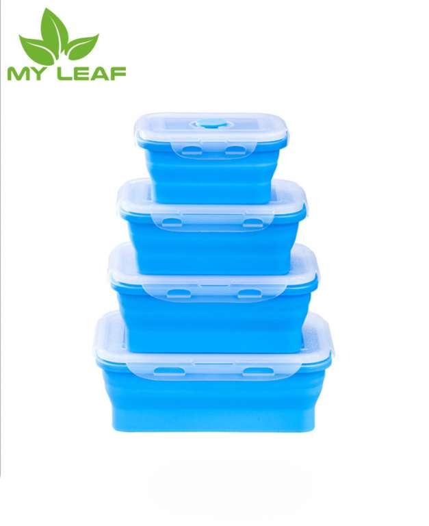 SiliconeRetractable ซิลิโคนกล่องอาหารกลางวันพับได้กล่องพับได้ภาชนะเก็บอาหาร-เครื่องล้างจานและช่องแช่แข็งปลอดภัยแบบพกพากล่องอาหารกลางวันพับได้Minimum