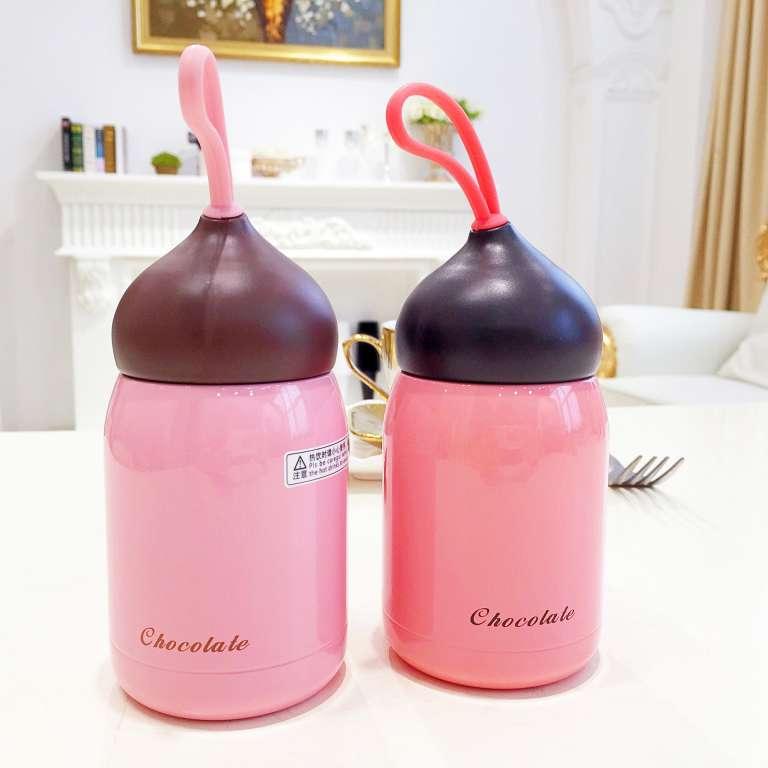 แก้วน้ำสแตนเลสน่ารัก แก้วนักเรียน แก้วเด็ก Chocolate cup