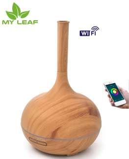 น้ำมันหอมระเหยอโรม่า/เครื่องปล่อยควันอัลตราโซนิคสเปรย์/เครื่องตะเกียงสุคนธบำบัดความชื้นกลิ่น/เครื่องพ่นไอน้ำอโรม่า/Smart Wifi Wireless 400Ml Aroma Essential Oil Diffuser Air Humidifier