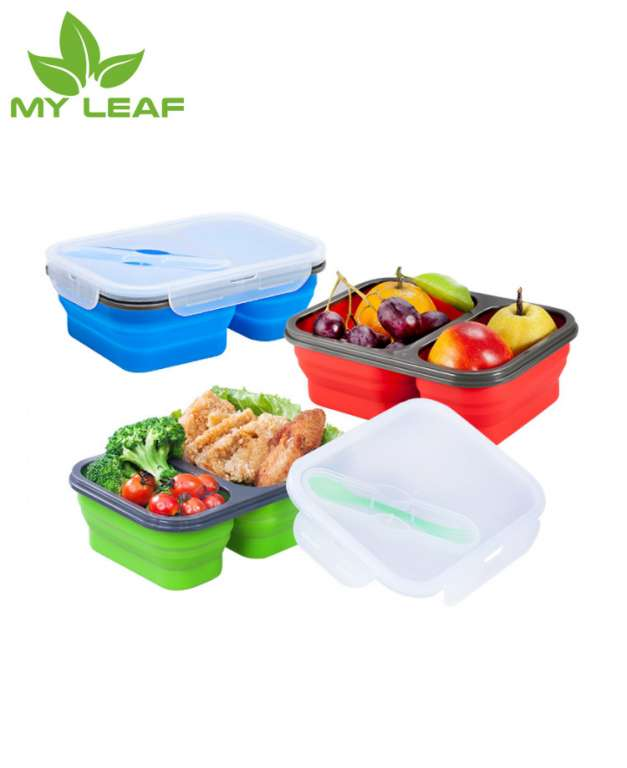 SiliconeRetractable ซิลิโคนกล่องอาหารกลางวันพับได้กล่องพับได้ภาชนะเก็บอาหาร-เครื่องล้างจานและช่องแช่แข็งปลอดภัยแบบพกพากล่องอาหารกลางวันพับได้