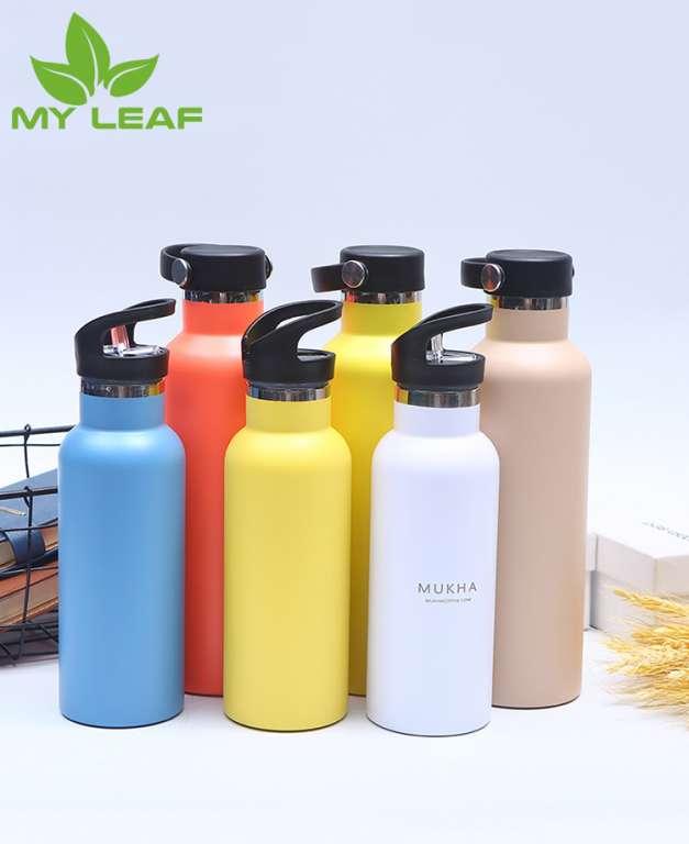 คู่ชั้นสแตนเลสสตีลสูญญากาศ กระบอกน้ำ กระติกน้ำร้อน ขวดกีฬาพกพากลางแจ้ง ขวดน้ำสูญญากาศสแตนเลส Portable outdoor sports water bottles Vacuum double insulation cup