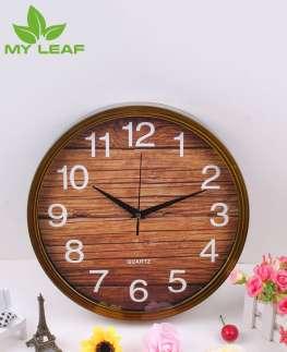นาฬิกาแขวนสไตล์นอร์ดิก / นาฬิกาติดผนัง ทรงกลม ขนาด 12 นิ้ว / นาฬิกาแขวนโบราณลายไม้ /Wall clock